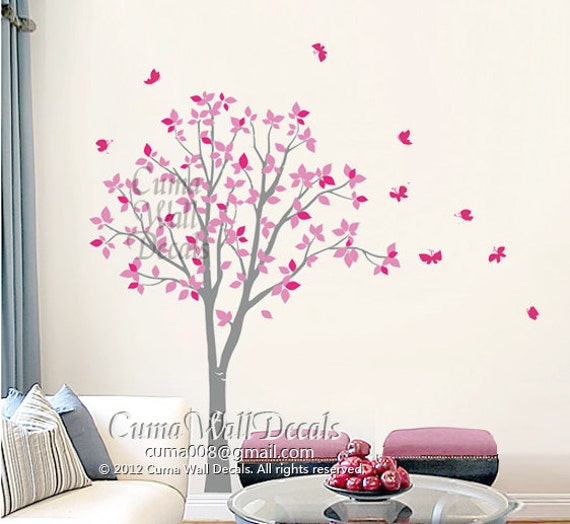 Vinyl wall decals pink tree owl and butterfly nature tree for Butterfly mural