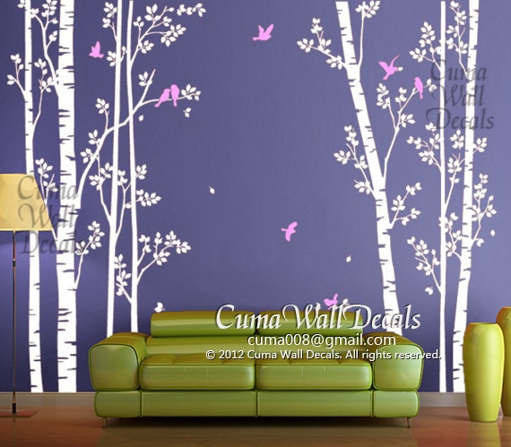 tree wall decals birds nature forest vinyl wall decals by cuma. Black Bedroom Furniture Sets. Home Design Ideas