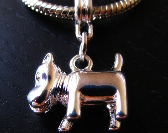 Scottie Dog, Scottish Terrier Charm - 3D Silver Plated Charm Fits All European Style Bracelets And Necklace Chains