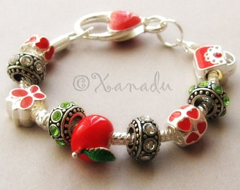 Teacher's Pet European Charm Bracelet - Gift Idea For Teachers, Professors, Educators - Small Child, Kid, Children Sizes Available