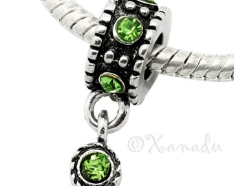 Peridot Green European Charm Bead - August Birthday Birthstone Charm For All European Charm Bracelet And Necklace Chains