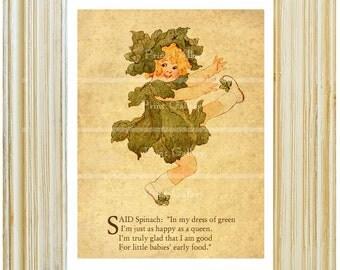 Old Antique Fruit Vegetable Food Prints Kitchen Children Bedroom Nursery Wall Art Bookplate Book Picture Poem Decor Spinach fv 341