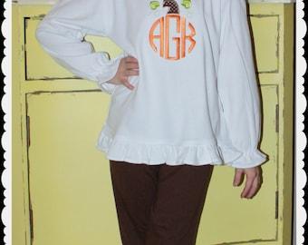 Custom Applique Thanksgiving Fall Pumpkin Monogram Shirt -Short or Long Sleeve Boys or Girls