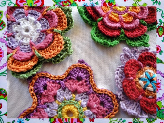 3  Colorful Flowers  Crochet Patterns