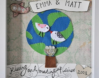 Made to order - Anniversary, wedding, Christmas - love birds