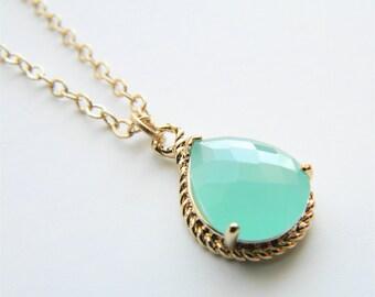 Gold Necklace - Stone Necklace - Long Necklace - Aqua/Mint Glass Stone Pendant on Matte Gold Chain Necklace