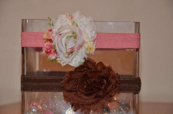 The SECRET GARDEN-Two Shabby Flower Adjustable Headbands in Ivory/Pink/Floral and Chocolate Brown