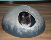 60 cm wide large cat bed for big cat,white with grey cave,pets cat cave, hand crafted