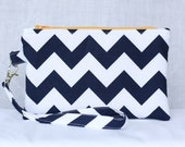 Navy and White Chevron Clutch - Wristlet - Wallet with zipper closure