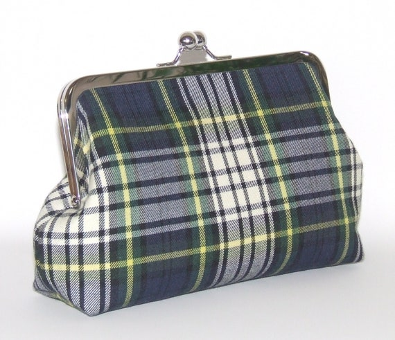 Wool Clutch - Gordon Dress Tartan Plaid, with Navy Blue White Green Yellow