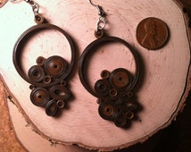 Chocolate Gear Quilled Earrings