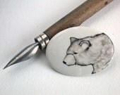 handpainted bear on porcelain brooch