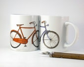 Bicycle handpainted porcelain mug, red one ready to ship