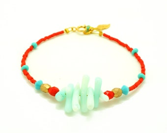 Boho Beaded Bracelet - Turquoise Red Gold Coral Beaded Bracelet w/ Tiny Feather