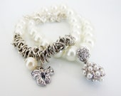 3 piece Pearl, silver chain and crystal charm set