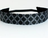 "Grey & Black Lattice NonSlip Headband 1.5"", Fitness Apparel, Running Headband, Workout Accessory, Gifts for Her, Exercise Headband, Under 5"