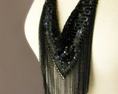 Black Chainmail Statement Necklace With Black Metallic Fringe - Gift Idea For Her