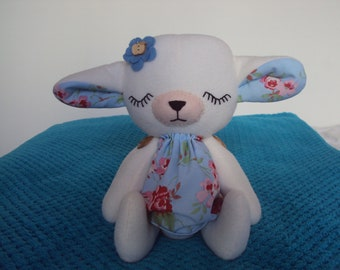 Sleeping Baby Lamb with Cath Kidston Blue Rosali fabric dress. Can be personalised