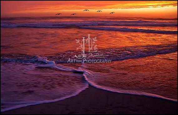 8x12 Photo of Sunset at Ponto Beach in La Costa California JML