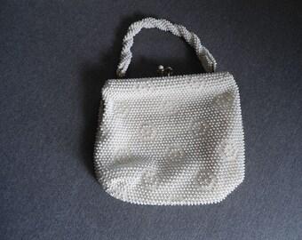 Vintage Corde Bead White handbag
