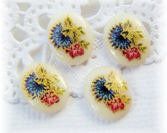 Vintage 10x8mm Blue Pink Flower Decal Cabochons Accented with Gold - 4
