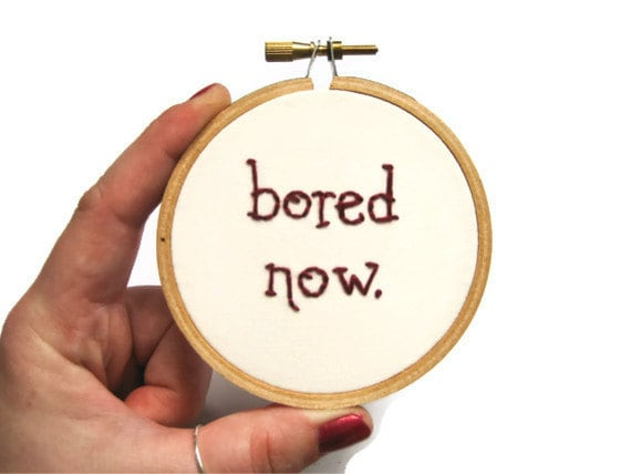 ON SALE - Bored Now Embroidery Hoop - Willow / Buffy the Vampire Slayer - 3 inch Fiber Art Home Decor