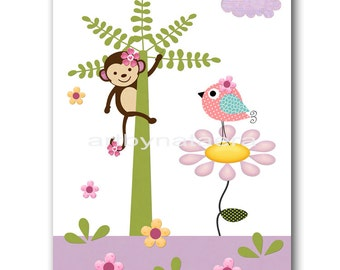 Baby Nursery Art Room Decor Kids Wall Art Baby Girl Room Kids Art Baby Girl Nursery Print Monkey Bird Decoration Palm Tree Purple Green