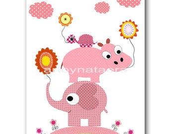 Kids Wall Art Nursery Art Print Baby Nursery Decor Nursery Print Baby Girl Art Print Girl Artwork Hippopotamus Turtle Elephant Rose