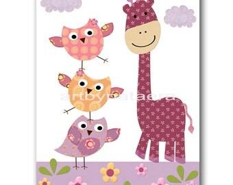 Nursery art print baby nursery decor owls kids art children wall art nursery print Baby Girl Wall Art OWL giraffe violet rose