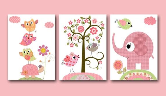 Kinderzimmer ideen für mädchen eule  Kinder Wand Kunst Baby Mädchen Kinderzimmer Baby Mädchen