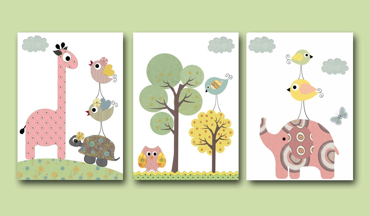 Art for children kids wall art baby room decor by artbynataera for Baby room wall decoration