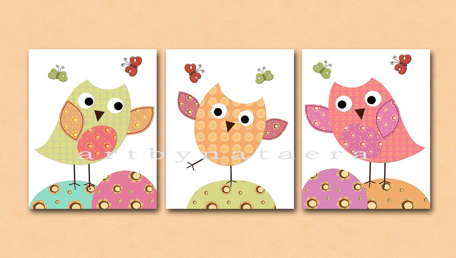 Popular items for owl kids wall art on Etsy