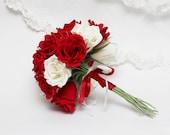 wedding bouquet, bridesmaids bouquet, paper bridesmaids bouquet, bridal bouquet, paper bridal bouquet, red rose bouquet