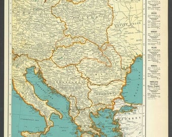 Vintage Map of Central Europe From 1937 Original