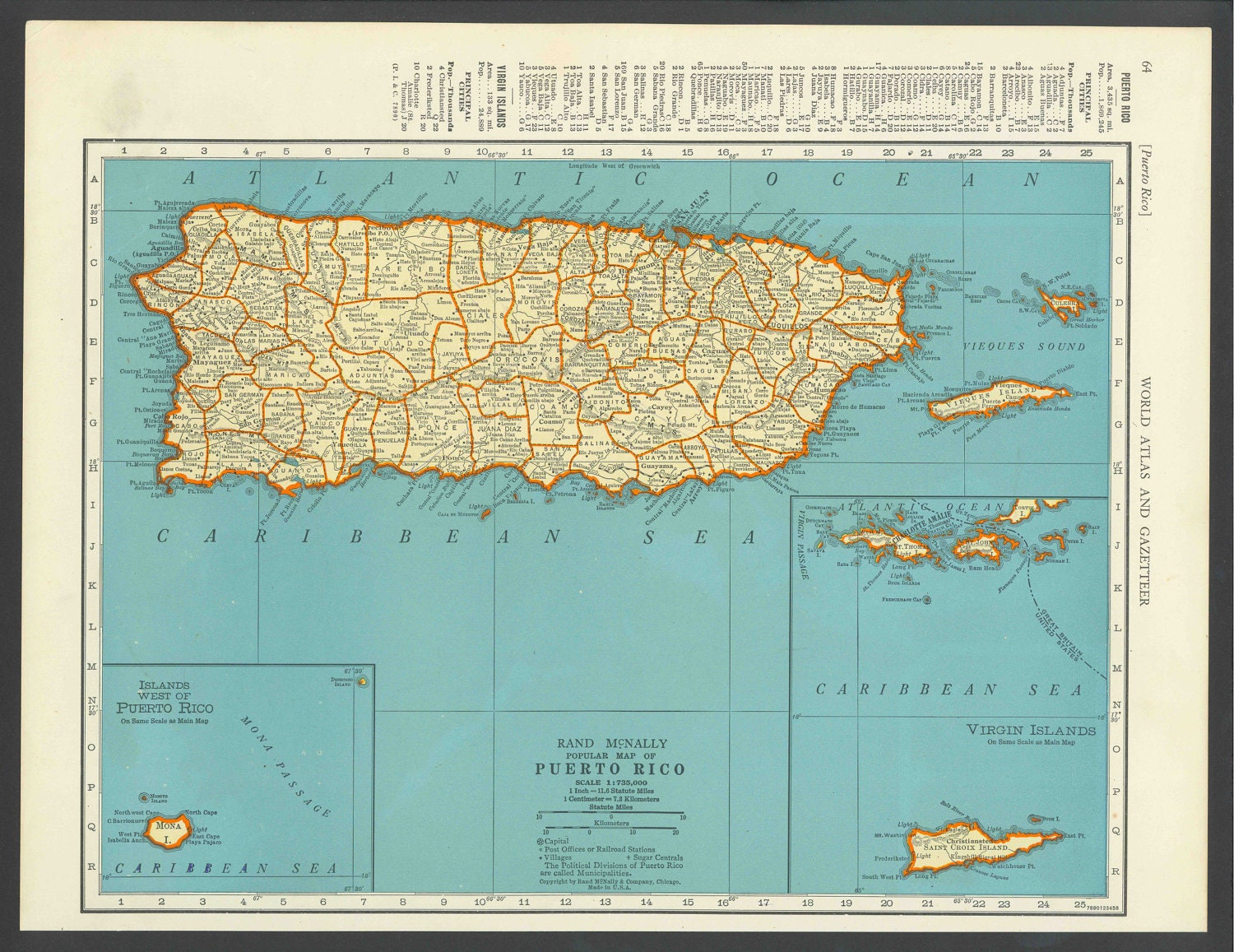 Vintage Map Puerto Rico From Original - Map of puerto rico