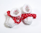 SALE ITEM! Baby Girl Booties, Hand knitted lace booties, White , Red polka ,slippers, birthday gift, knitted socks, spring fashion