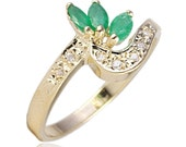14 Karat Gold Marquise Cut Emeralds with Pave Diamond Accented Cocktail Anniversary Right Hand Vintage Ring