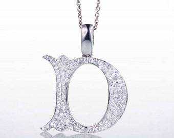 "18 Karat White Gold Diamond Initial ""D"" Pendant Necklace"