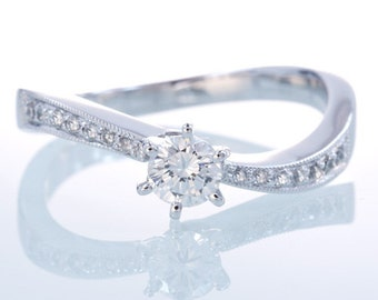 Curve Wavy Design Solitaire Diamond Engagement Ring Bridal Set with Matching Band