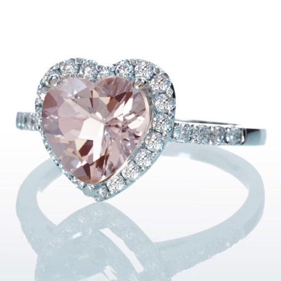 Morganite Ring Heart Shape Cut Dainty Morganite Diamond Heart