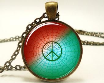 Peace Necklace, Peace Symbol Jewelry Art Pendant (0993B1IN)