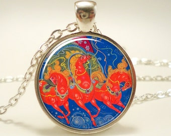 Christmas Necklace, Horse Jewelry, Russian Art Pendant (1238S1IN)