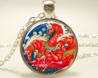 Christmas Necklace, Horse Jewelry, Russian Art Pendant (1249S1IN)