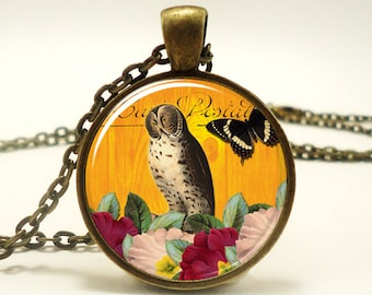 Owl Necklace, Vintage Style Jewelry, Bronze Woodland Pendant (0921B1IN)