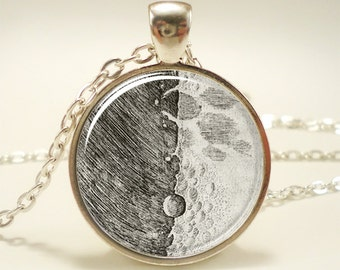 Full Moon Necklace, Galileo Moon Sketch Jewelry (1338S1IN)