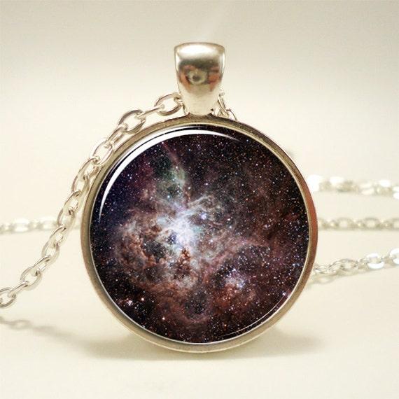 Tarantula Nebula Necklace, Galaxy Jewelry, Universe Pendant (1163S1IN)
