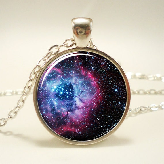 Rosette Nebula Necklace, Galaxy Jewelry, Universe Pendant (1165S1IN)