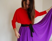 80s Red, Purple and Black Color Block Dress