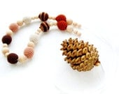 """Autumn Nursing necklace brown cream mocha natural wooden beads /Teething necklace for mom and baby """"Coffee with milk"""""""