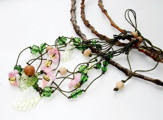 Rustic Simple  Flower Necklace Green light pink Elegant short necklace Toddler Girls Jewelry BoxingDaySale